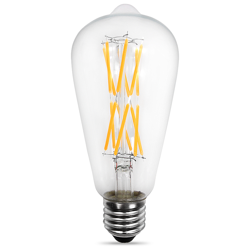 Decorative Light ST64 12W E26 Led Curved Filament Bulb