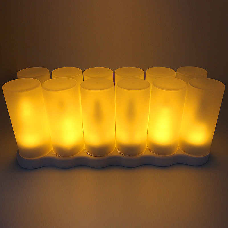 Battery Powered Unscented LED Cake Shape Flame Lamp Set of 12 pcs For Home Decoration